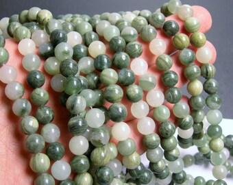 Green line quartz - 8mm (8.1mm) round beads -1 full strand - 47 beads - A quality - RFG184