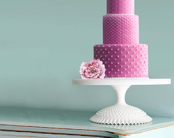 """18"""" Wedding Cake Stand / White Cake Pedestal Stand for White Weddings / Milk Glass Centerpiece / Vintage - Inspired by The Roche Studio"""