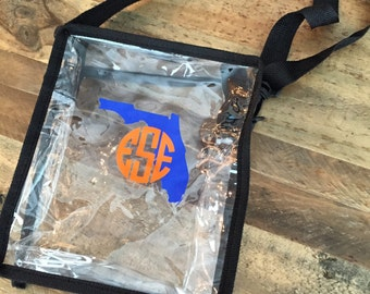 Clear Stadium Bag - Monogram Stadium Bag, Monogram Stadium Tote, Personalized Stadium Bag,
