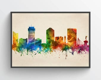 Wichita Skyline Print, Wichita Cityscape, Wichita Art, Wichita Poster, Wichita Decor, Home Decor, Gift Idea, USKSWI05P