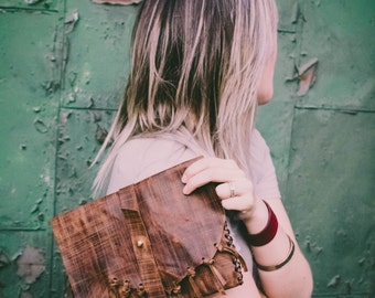 Distressed Leather Bag, Brown fringe clutch in soft leather, Native American gift for women