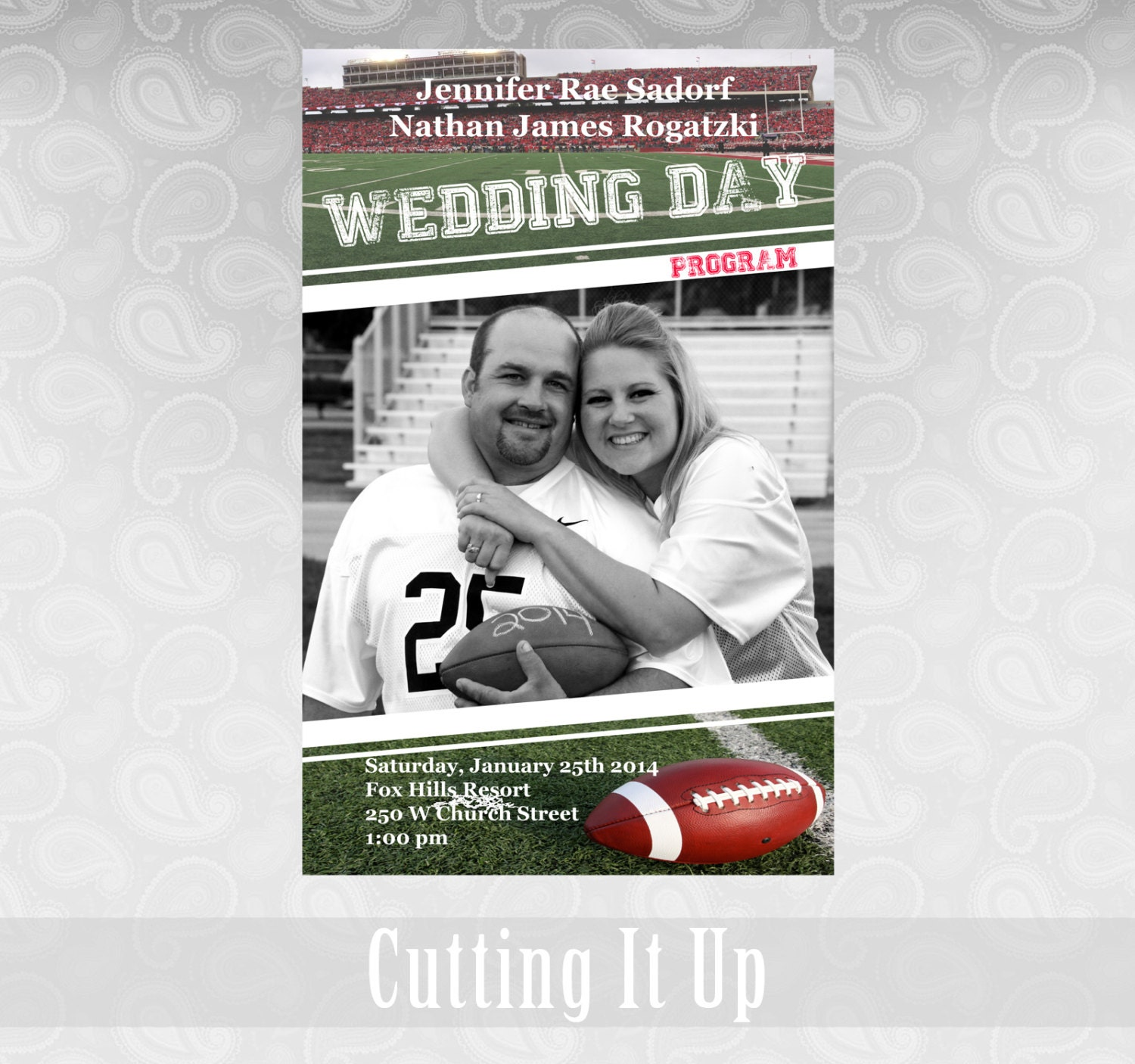 Football Wedding Program Sports Theme Favor Fun Magazine