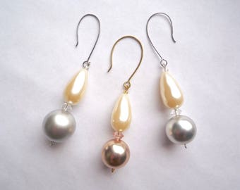 Acrylic pearl Christmas ornaments, Set of 3 pink or silver ball with cream colored teardrop pearl, Pearl decorations