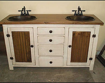 rustic farmhouse vanity 60 double bathroom vanity fh1296 60d bathroom - Farmhouse Bathroom Vanity
