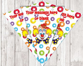 BP102 circus clown personalised flag bunting x 10 flags with ribbon