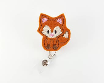 Baby Fox - Felt Badge Reel - Nurse Badge Reel - RN Badge Reel - Retractable Badge Clip - Name Badge Holder - ID Badge Reel - Pediatric Badge