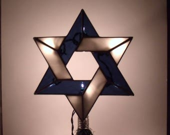 Light Up Interfaith Tree Topper, Stained Glass Jewish Star of David, Christmas Decoration for Messianic Holidays