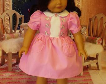 Agrémenté de Rose robe et d'accessoires s'adapte à American Girl poupées Kit et Ruthie