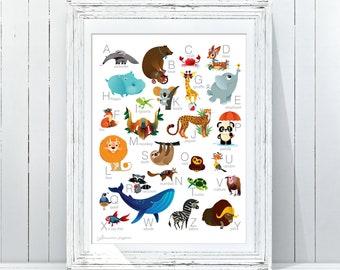 Alphabet Print|Woodland Alphabet Nursery Wall Art|Alphabet Poster|ABC Wall Art|Kids Room Decor|Animal Nursery Decor|Printable Woodland ABC