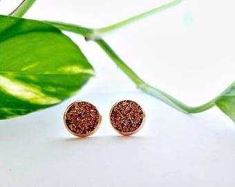 Druzy Earrings - Copper Studs - Copper Earrings - Rose Gold Studs - Silver Studs - Everyday Earrings - Chunky Glitter - Glitter Stud Earring