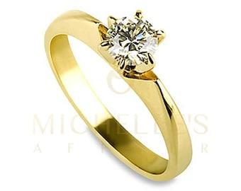 Diamond Ring Women Round Cut Engagement Ring 0.35 Carat D VS2 Certified Diamond 14K Yellow Gold Ring