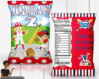 Baseball Party, Baseball Chip Bag, Baseball, Softball, Baseball Party Favors, Sports, Digital or Printed and Shipped