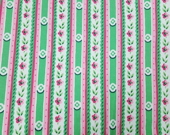 Vintage Waverly fabric home dec Cottage Collection pink green white stripes flowers yardage