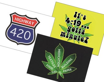"Three Pot Postcards - Choose 3 the Same or Variety Pack of 5"" x 7"" Blank Weed Postcards for the Pothead in your life!"
