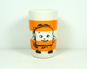 itty bitty cylinder / vase / cup with a hero sandwich print on creamsicle stripes READY TO SHIP
