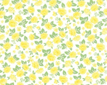 Yellow Vintage Style Floral Fabric - Sew & Sew from Chloe's Closet by Moda 1 Yard