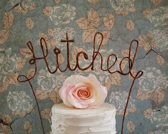 HITCHED Rustic Wedding Cake Topper, Rustic Wedding Cake Decoration,Rustic Wedding Cake Topper,Wedding Centerpiece Bridal Shower, Engagement