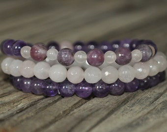 Stress Mala Bracelet, Lepidolite, Rose Quartz, Amethyst, Yoga, Crystal Healing, Prayer, Meditation, Intent Bracelet, Stack, Stretch, Peace