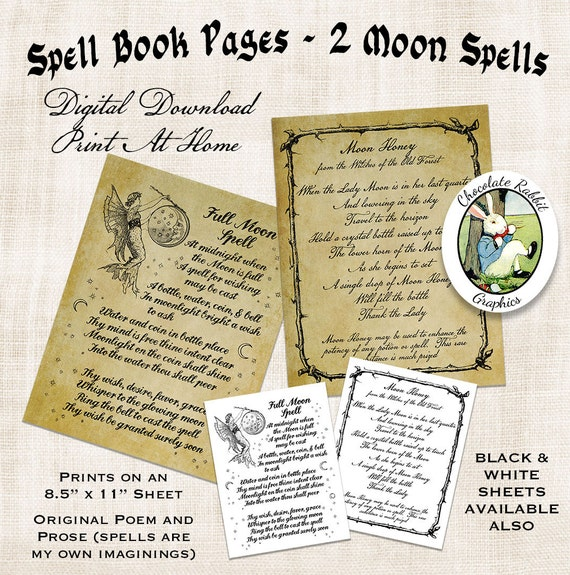 Spell Book Pages Halloween Witch Of Shadows Digital Download Vintage Style Printable Art Image Clip Scrapbook Sheet Graphic Print From
