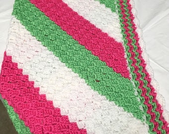 Baby Girl crochet Pink White and Green Baby Blanket