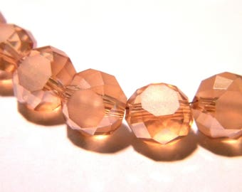 10 glass beads 8x5mm electroplate amber light abacus faceted - K59 2 frosted glass rondelles beads