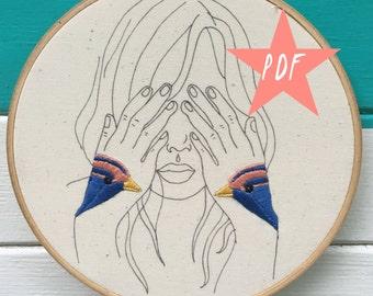 Modern Embroidery Pattern, Hand Embroidery Pattern, Bird Tatto0 PDF