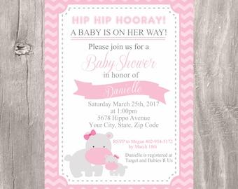 Baby Shower Invitation, Pink Hippo Baby Shower Invite, Girl Baby Shower Printable Pink Hippo Invitation