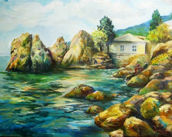 Sunny Seaside Oil Painting on canvas Original landscape Impressionism Plein Air Painting Sunset Summer Rocky shore Housewarming gift