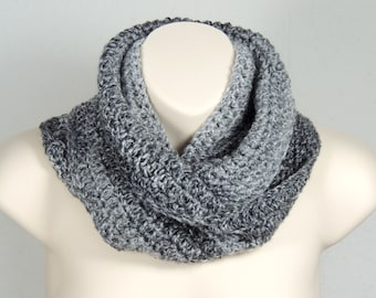 Crochet Infinity Scarf Cowl Shades of Grey