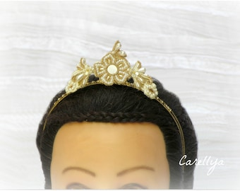 Vintage Wedding Crown, Beaded Lace Headband, Royal Head Piece, Queen Of The Day