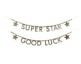 Gold Glitter Letters Garland Kit, Super Star, Good Luck, Happy Birthday, Party Supplies, Meri Meri