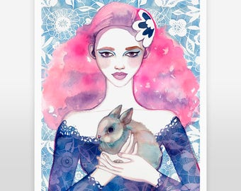 ART PRINT- bunny art, girls room art, whimsical nursery, nature art