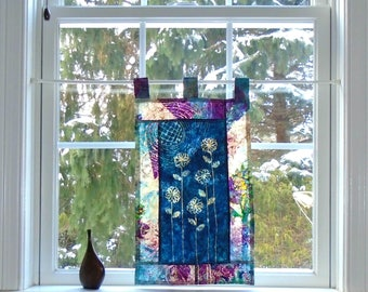 Quilted Sun Garden  ~ Bleached Art Stained Glass Look Pojagi Batik Window Treatment  / bohemian cafe / dorm curtain / boudoir curtain