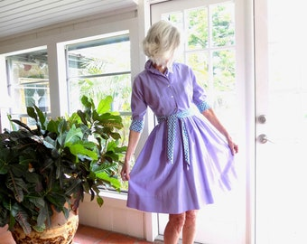 Vintage shirtwaist dress full skirt lavendar three quarter sleeves: XS Petite
