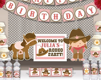 Cute Cowgirl Rodeo Birthday Party Printable Wall Banner