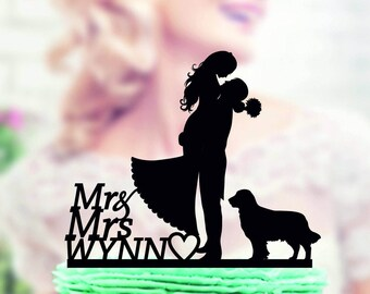 wedding cake topper with dog, cake topper with dog, family wedding cake topper, family cake topper, Mr and Mrs cake topper, dog silhouette