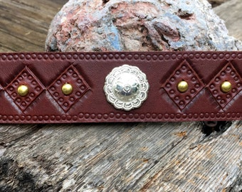 Diamond Stamped Leather Cuff Tsalagi Cherokee Made