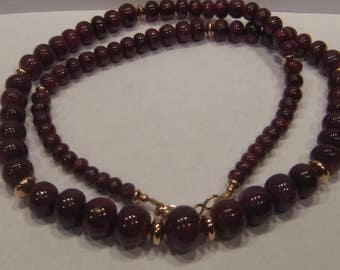 Nice Large Size - Ruby bead necklace made with real natural ruby beads and Rose Gold Fill Beads   ......... 20 inches ... A21