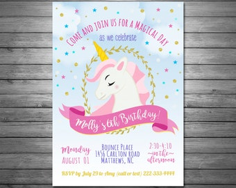 Unicorn Party Invitation, Unicorn Birthday Invitation, Unicorn Party Printable, Rainbow Party, Gold Glitter, Pink & Gold