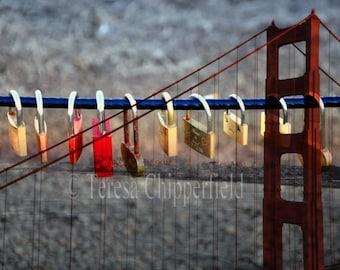 San Francisco Photo, Golden Gate Bridge Photography, California Print, Love Locks, Fine Art Photo, Historical Monument, bokeh, 8x10,16x20
