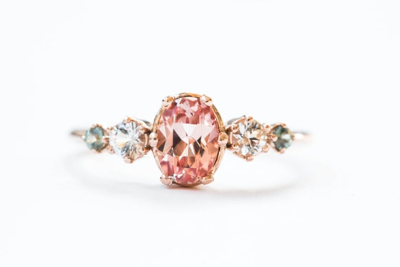 Oval peach sapphire cluster engagement ring, Chatham champagne sapphire ring, alternative engagement ring, unique engagement ring, cluster