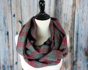 Plaid Scarf -Christmas Gifts -  Plaid Infinity Scarf - Gray Plaid Scarf - Gray Flannel - Scarf - Circle Scarf - Infinity Scarf