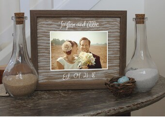 Sand Ceremony Set Unity Sand Ceremony in  Shabby Chic Barnwood Holds Up To 4x6 Photo