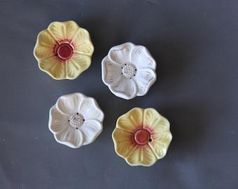Flower Tea Bag Rest w/ Drain. Hand-Painted