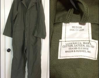 deadstock 1970's US Military coveralls jumpsuit size Medium cotton sateen OG-107 olive green 1972 Mason Hughs #103