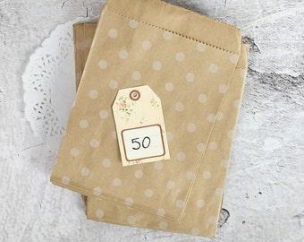 50 polka dots kraft paper bags