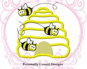 Instant Download Bumble Bee Hive Applique Embroidery Design 4 Sizes 3in, 4in, 5in, 6in, Beehive Applique Design, Bee Embroidery, Honey Bee