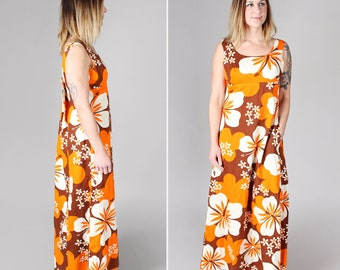 Vintage 1960's Hawaiian Summer Dress - Maxi Flowy Beach Flowers Orange Brown White Floral A-line Hibiscus Boho Bohemian Resort - Size Medium