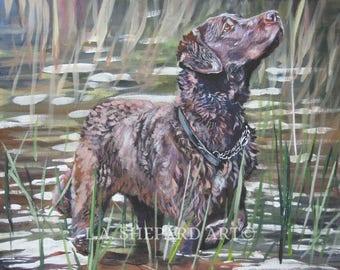 CHESAPEAKE BAY RETRIEVER dog art portrait canvas print of LAShepard painting 11x14