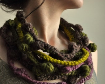 Fiber Art Jewelry Freeform Crochet Fiber Necklace Multistrand Statement Wearable Art in brown olive purple eco fashion - We Can Get Wild